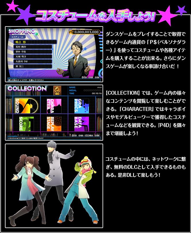 コスチュームを入手しよう!ダンスゲームをプレイすることで取得できるゲーム内通過の「P$(ペルソナダラー)」を使ってコスチュームや各種アイテムを購入することが出来る。さらにダンスゲームが楽しくなる事請け合いだ![COLLECTION]では、ゲーム内の様々なコンテンツを閲覧して楽しむことができる。[CHARACTER]ではキャラボイスやモデルビューワーで獲得したコスチュームなどを鑑賞できる。「P4D」を隅々まで堪能しよう!コスチュームの中には、ネットワークに繋ぎ、無料のDLCとして入手できるものもある。是非DLして楽しもう!